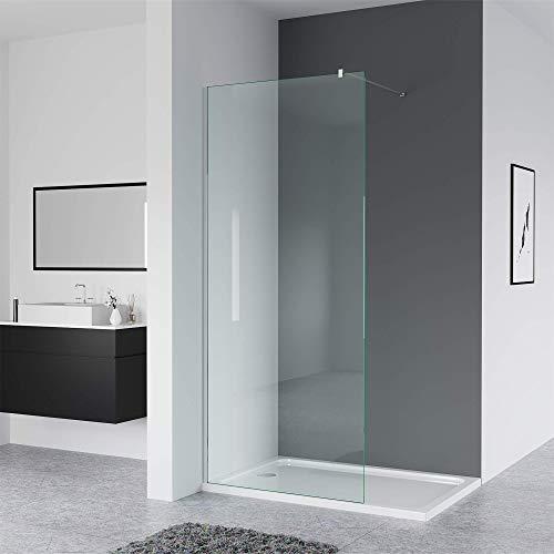 IMPTS Glaswand Dusche 90 x 200cm Walk in Duschwand Duschabtrennung Nano Glas Duschkabine offen mit Stabilisierungsstange
