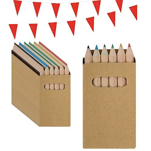 Partituki Gadget Compleanno Bambini. 30 Set de Matite Colorate. Include Una Ghirnalda di 10 Metri. Regalini Fine Festa Bambini