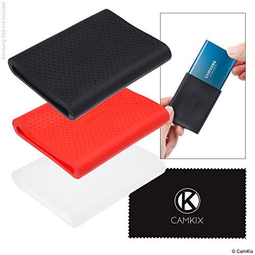 CamKix Estuche de Reemplazo compatible con Samsung T5 / T3 / T1 SSD - Carcasa a Prueba de Golpes y Rayones de Silicona - Rojo, Negro y Transparente - Funda de Goma Antideslizante para su Disco Externo