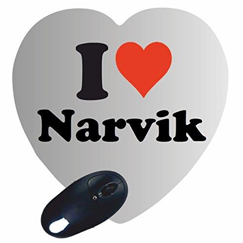 """Herz Mauspad """"I Love Narvik"""" in Weiss, eine tolle Geschenkidee die von Herzen kommt  Rutschfestes Mousepad   Geschenktipp: Weihnachten Jahrestag Geburtstag Lieblingsmensch"""