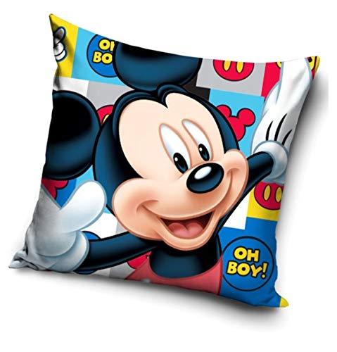 Funda de cojín con diseño de Mickey y Minnie Mouse de Disney, 40 x 40 cm, impreso por ambos lados, parte delantera y trasera, idea de regalo, algodón, Mickey, 40 x 40 cm