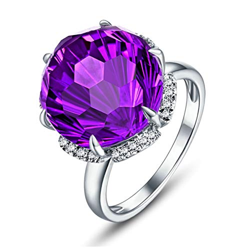 Ubestlove Promise Rings For Couples Lesbian Daughter Jewellery Gifts From Mum 6 Claw Natural Amethyst Ring 10Ct Amethyst I 1/2