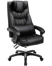 Songmics OBG76B Bureaustoel met Inklapbare Hoofdsteun, PU-Kunstleer, Zwart