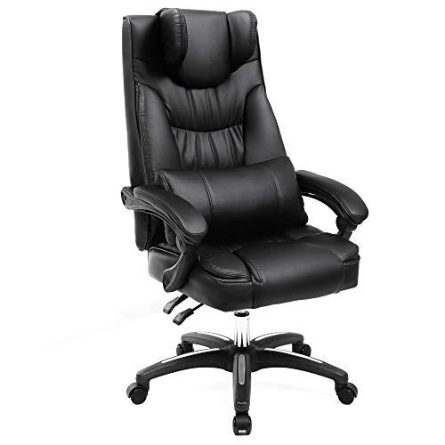 Songmics OBG76B Bureaustoel met inklapbare hoofdsteun, extra grote orthopedische managersstoel, ergonomische bureaustoel, zwart,