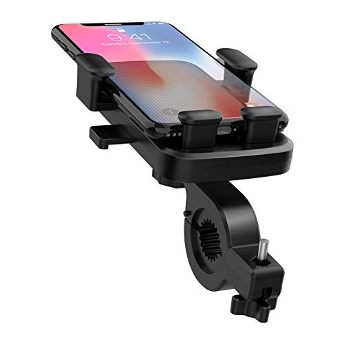 Universal Bike Phone Mount, Adjustable Rotatable Anti-Shake Holder for Motorcycle/Bicycle Handlebar, Compatible with iPhone, Samsung and Android Phones, Applicable to 4.7'' to 6.5'' Phone (Blue)