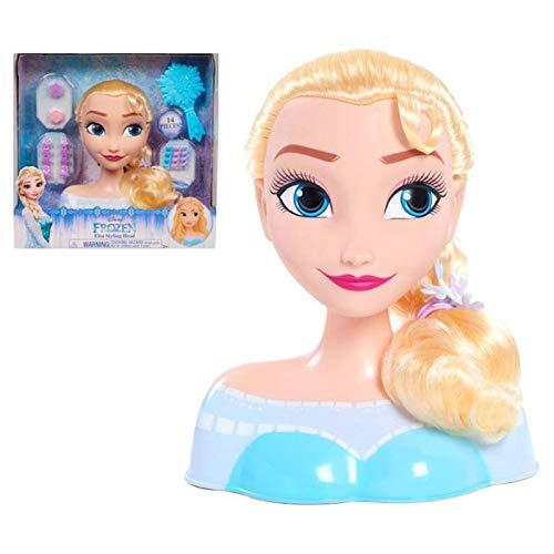 STYLING HEAD- Frozen Busto Maquillaje y Peinados de Elsa con 13 Accesorios incluidos para peinar y maquillar a tu Princesa Disney