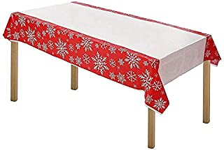 ARTTHOME. Heavy Duty Gingham Checkered Tablecloth Premium Disposable Plastic Picnic Table Cover 54 Inch. x 108 Inch. Rectangle (6 Pack Holiday Red)