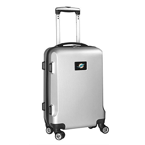 Denco NFL Miami Dolphins Carry-On Hardcase Luggage Spinner, Silver