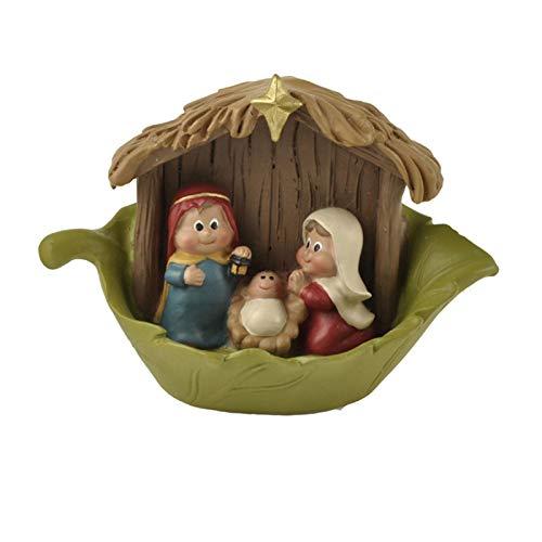 Nogan Baby Jesus Belén Figuras de Navidad Estatua de Madera de la Natividad Escena de la casa Estatuilla Decoración Adorno Pesebre de Navidad Adornos de la Natividad Set Regalos para el hogar Current