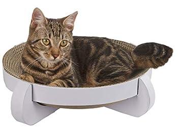 Kerbl Platinum Corbeille Griffoir avec Catnip pour Chat Blanc 35 x 35 x 10 cm