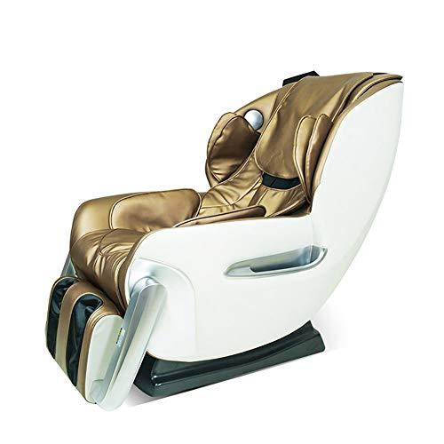 YS-S002 Poltrona da Massaggio, Poltrona a gravità Zero Automatica Multifunzione 4D massaggiatrice/Massaggio a Mano con Simulazione/con Altoparlante Bluetooth,Gold