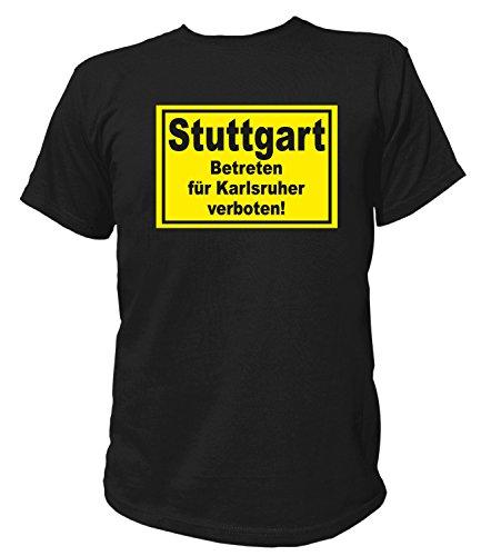 Artdiktat Herren T-Shirt Stuttgart - Betreten für Karlsruher verboten Größe XXXL, schwarz