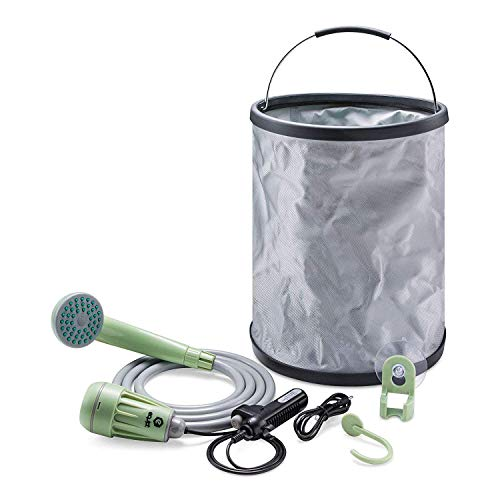 Best Buy! Equipt Streamline Portable Camping Shower with Expandable 4 gallons Bucket Removable Hose ...