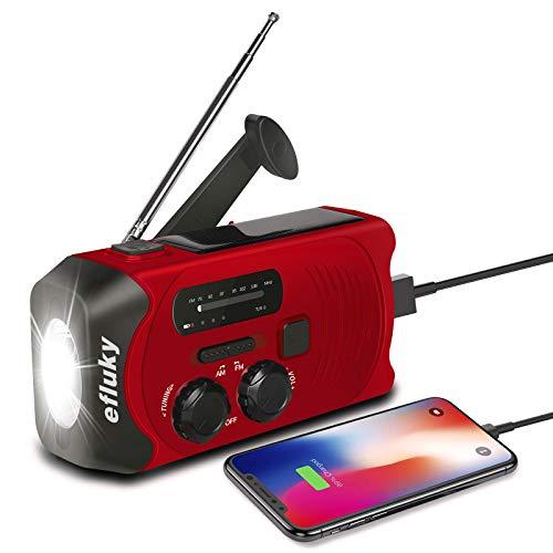 fluky Solar Radio AM/FM Kurbelradio Tragbar USB...