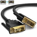 DVIケーブル 標準DVIインターフェイスDVI-D 24+1 1080P高解像度 網線材を編む 高遮蔽 妨害に抵抗する 伝送安定 金メッキ端子 DVI-DVI 3m (オス - オス)