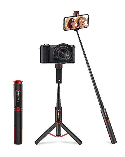 BlitzWolf Bastone Selfie per Fotocamera, Asta Selfie in Alluminio Leggero, Tutto in Uno 84cm Selfie Stick Treppiede Estendibile con Telecomando Wireless per iPhone, Samsung, Huawei, LG, Sony, Android