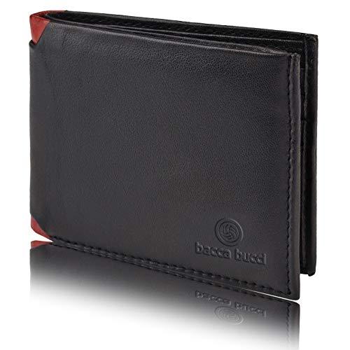 Bacca Bucci® RFID Blocking Bifold Wallet for Men Soft Genuine Vintage Leather-Black