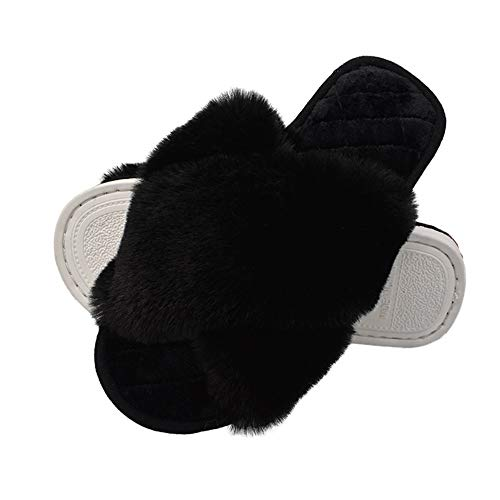 HUMIWA Black Women's Cross Band Slippers Soft Open Toe Furry Cozy Fur House Slippers Memory Foam Sandals Slides Soft Anti-Slip on Home Slippers for Girls Men Indoor Outdoor