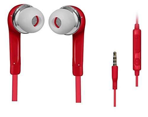 C63® RED HANDSFREE Oortelefoon met microfoon. voor Samsung Galaxy S5 S4 S6, iPhone 6 6 Plus, 5S, 4S, iPad, iPod, MP3 MP4-spelers, MacBook Pro en Tablet PC