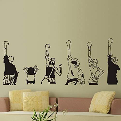 Arte de pared creativo de bricolaje Anime japonés One Piece Luffy Adhesivos de pared Habitaciones para niños Decoración del hogar Adhesivos de pared Sala de estar