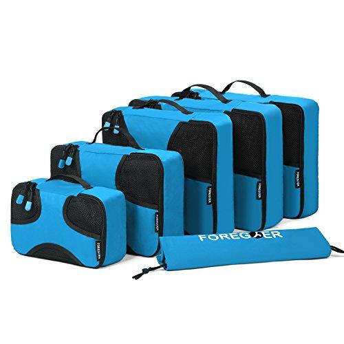 FOREGOER Set di 6 Organizer per Valigia da Viaggio imballaggio cubi con Sacco - Blu