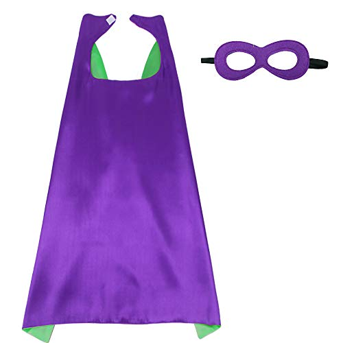 iROLEWIN Superhero Cape Adult Sized Costumes with Mask (110cm) (Green-Purple)