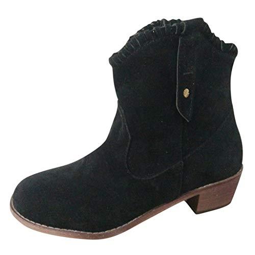 TEELONG 2019 Mujeres Botas Cortas, Retro Color Sólido Puntiagudo Tobillo Botas Moda Scrub Solas Botas de montar Vintage Slip-on Zapatos Talla 4-7 Reino Unido, color Negro, talla 38 EU