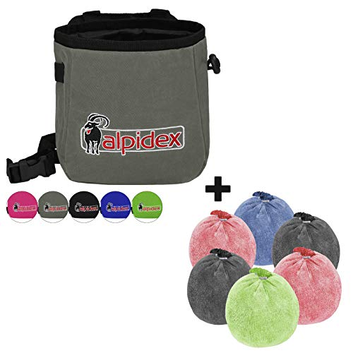 ALPIDEX Chalkbag + 6 x Chalkball 35 g bunt gemischt, Farbe:Grey Mountain