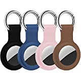 4 Stück Keyring für Apple AirTag Schutzhülle Pendant, Silikon Schutzhülle mit Schlüsselring Tragbare Schlüsselsucher Hülle Schlüsselanhänger Hülle ( Schwarz)