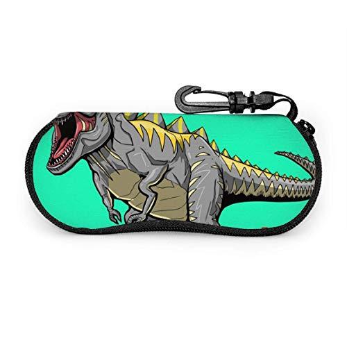 Arvolas Estuche para gafas de sol Neopreno Monstruo loco Dinosaurio jugando baloncesto Slam Dunk Lema Estuche para gafas con cremallera con clip para cinturón