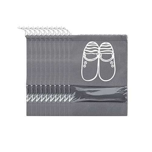 FunYoung Schuhbeutel mit Zugband und Sichtfenster, Superleichte Schuhtasche Wasserabweisend 10er Set (Grau)
