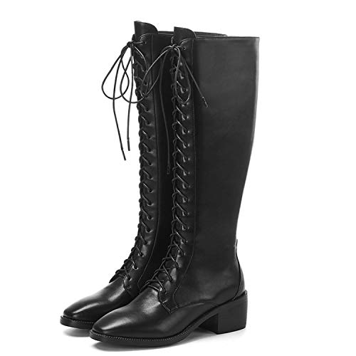 DDDatian Woman Knee Length Boots lace up Square Toe mid Heel Shoes Outside Side Zipper Dress Boots,Black,9.5