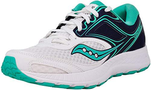 Saucony Women's VERSAFOAM Cohesion 12 White/Navy/Teal Running Shoe 9 M US
