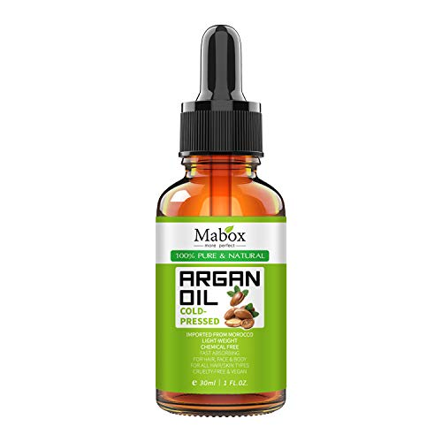 Mabox Organic Moroccan Argan Oil - 100% Pure, Natural, Cold Pressed Argan Oil for Hair, Face, Skin and Nails, Moisturizer Oil, Hair Oil, Carrier Oil, Hair Treatment for Dry and Damaged Hair(1 Fl Oz)