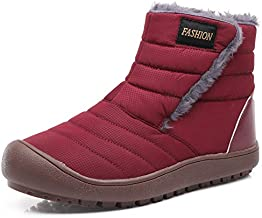 YIRANFA Women Fur Lined Snow Boots Outdoor Shoes Ankle Slip on Booties High-Top Outdoor Winter Shoe Red