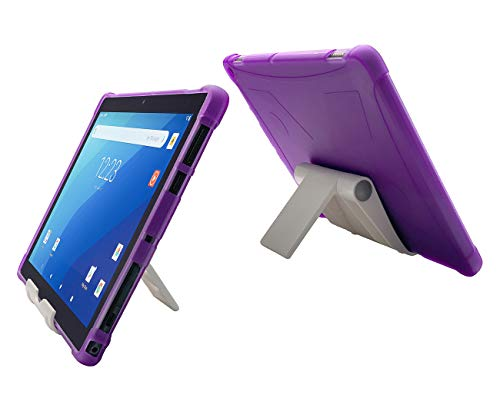 iShoppingdeals Protective TPU Cover Case for Onn Pro 10.1' Android Tablet 2020 Release (White Stand + Purple TPU)