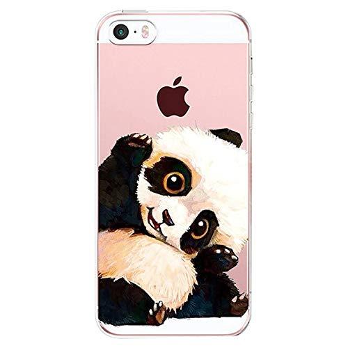 Alsoar Compatibile per Custodia iPhone 5s / 5 / SE [Non iPhone SE 2020], Cover Silicone Shell Panda Case Silicone Trasparente Morbido Ultra Sottile Gel Protettiva Shock-Absorption (Panda)