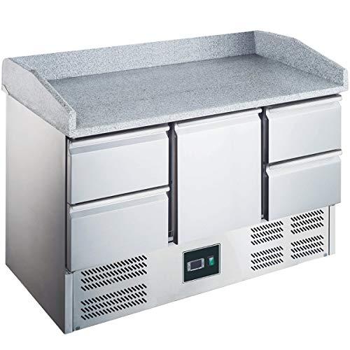 ZORRO - Pizzatisch ZS 903 PZ 4D - 1 Tür - 4 Schubladen - Kühltisch mit Granitplatte und Aufkantung - Salatkühlung - Gastro Belegstation