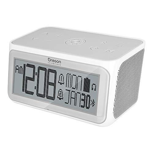 Oregon Scientific Wecker mit Bluetooth-Lautsprecher, zwei Weckzeiten, Uhrzeit, Datum, 3.5mm Kopfhörerausgang und eingebautem Mikrofon zur Nutzung als Freisprecheinrichtung