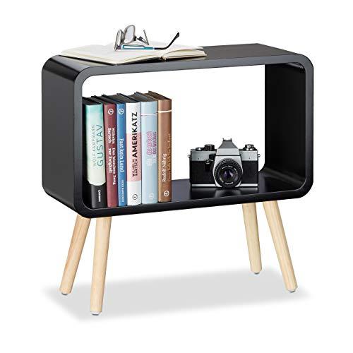 Relaxdays 1 x Standregal klein, Nachttisch ohne Schublade, MDF Holzregal für das Kinderzimmer, HxBxT: 50 x 53 x 20 cm, schwarz