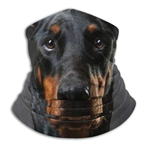 Funny Doberman Dog Neck Gaiter Headwear Bandana Magic Scarf Balaclava Face Sun Mask Black