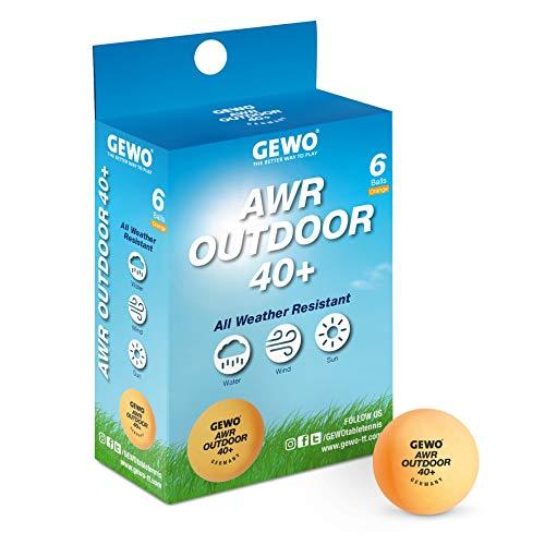GEWO Tischtennisball AWR Outdoor 40+ Pelota de Ping Pong, Unisex Adulto, Naranja