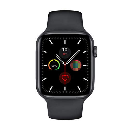 Serie 6 Smart Watch IWO W26 SmartWatch W26 / W26M ECG Temperatura della frequenza cardiaca ECG Impermeabile per Apple Android W26 PRO (Color : Black, Size : 44mm W26)