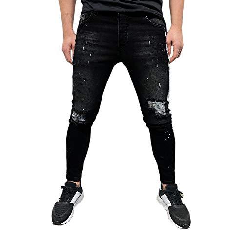 BaZhaHei-Pantalones de hombre Pantalones Vaqueros con Cremallera de Agujero Roto...