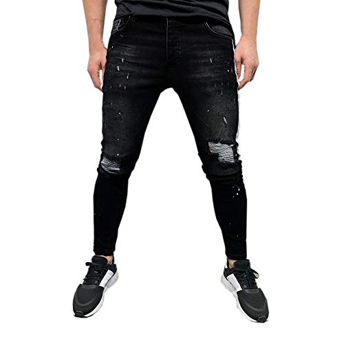Mannen jeans jeans broek FRAUIT Mannen Stretch Distressed geribbelde slim fit geprinte jeans broek biker jeans stretch jeans vrijetijdsbroek denim slim fit basic skinny