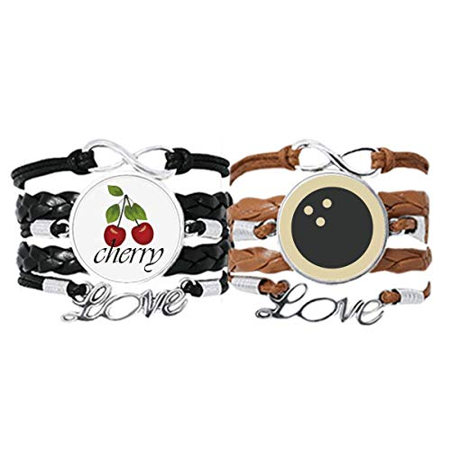 Bestchong Bowling Sport Armband mit einfachem geometrischem Muster, Handschlaufe, Lederseil, Kirsche Liebesarmband, Doppelset
