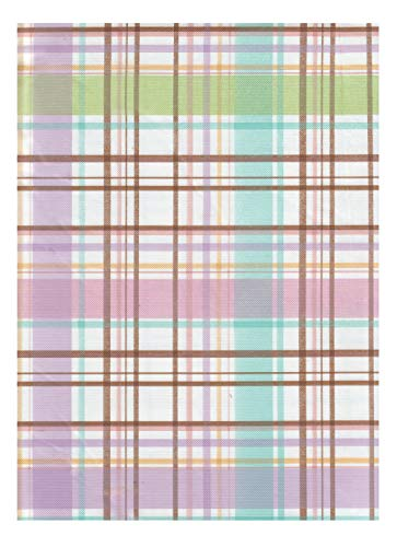 American Plastics Pastel Plaid Vinyl Tablecloth Flannel Backed, Indoor or Outdoor Use, (52 x 104 Rectangle)