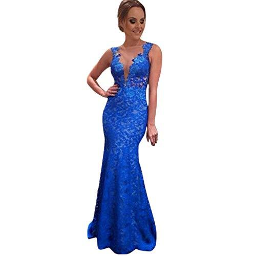 Clearance! MEIbax Frauen langes Kleid Spitze Abend Party Ball Brautjungfer Ballkleid Kleider (Blau, S)