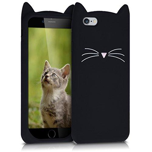 kwmobile Coque Compatible avec Apple iPhone 6 / 6S - Étui de Protection en Silicone - Chat Noir-Blanc