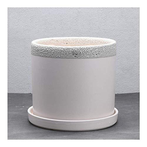 Blumentopf Wohnzimmer 16,7 cm x 7 Senchi Metoru Keramik Blumentöpfe einfache Blumentopf grün Pflanzzylinder mit einem Keramikschale, können Sie auf verschiedene Arten anpassen ( Color : White )
